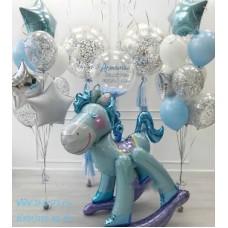 Пример Оформления воздушными шарами на выписку №1