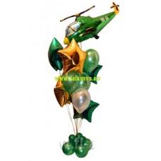 Пример Оформления воздушными шарами в День Защитника Отечества Фонтан №4