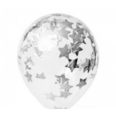 Шары с конфетти звезды серебро