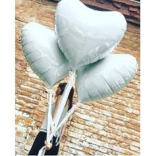 Фольгированное сердце-гигант  Пастель, Белый